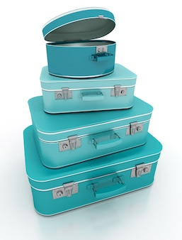 Renderowanie stosu niebieskiego bagażu w stylu retro
