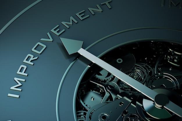 Renderowanie strzałki kompasu wskazującej na ulepszenie słów