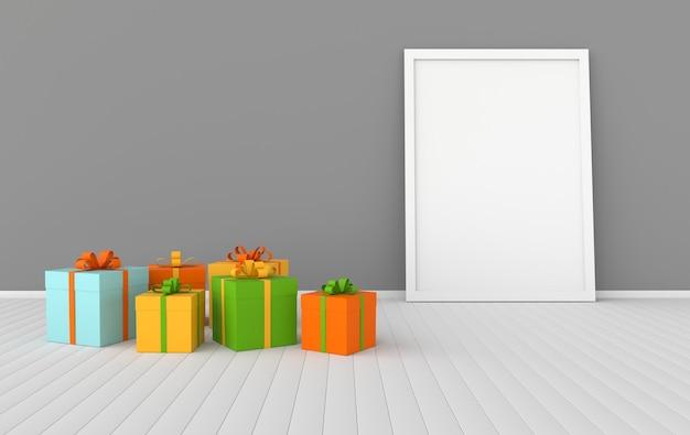 Renderowanie wnętrza z kolorowymi pudełkami na prezenty makieta plakatu w pokoju