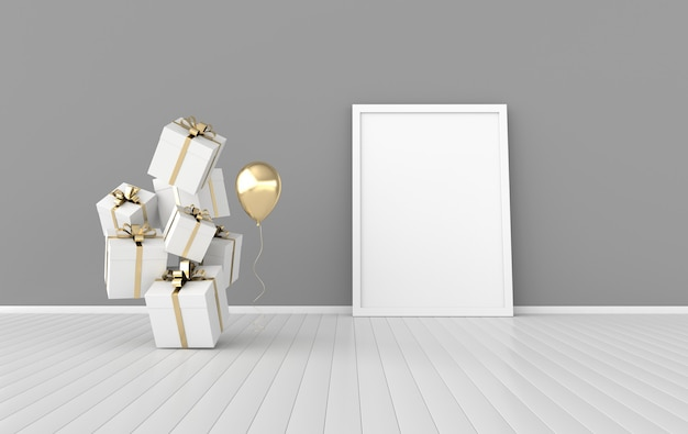 Renderowanie wnętrza z pudełka na prezenty balon rama plakatowa