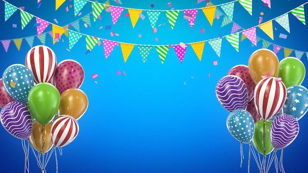Renderuj 3d kolorowe balony i dekoracje imprezowe z niebieskim tłem i przestrzenią do kopiowania