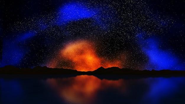 Renderuj 3d krajobrazu kolorowe niebo nocne