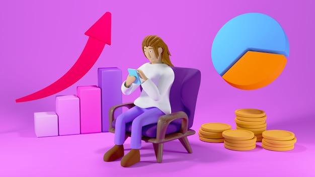 Renderuj 3d mężczyzna siedzący na krześle z rosnącymi stosami wykresów, strzał i monet na fioletowym tle