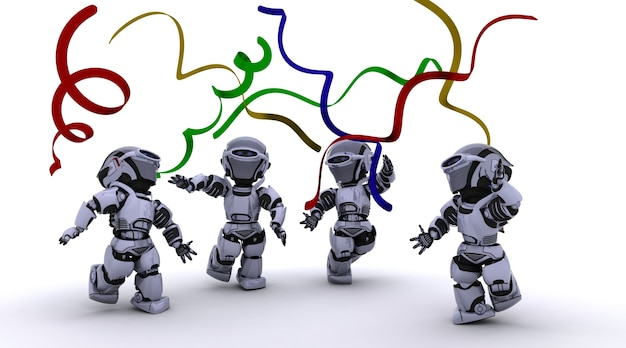 Renderuj 3d robots świętuje na imprezie
