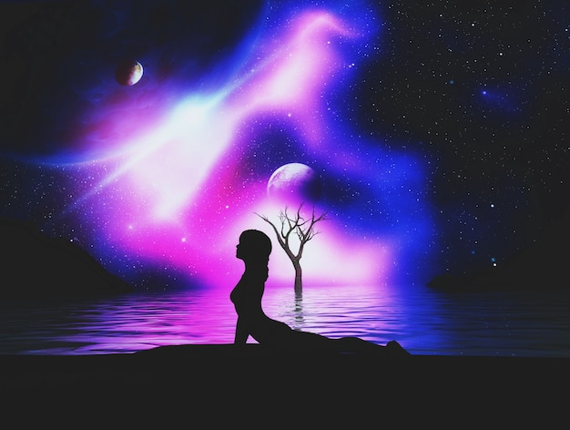 Renderuj 3d silhouetted żeński jogi stwarzają przeciwko przestrzeni kosmicznej