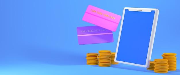 Renderuj 3d smartfon, karty kredytowe i stosy monet na białym tle na niebieskim tle