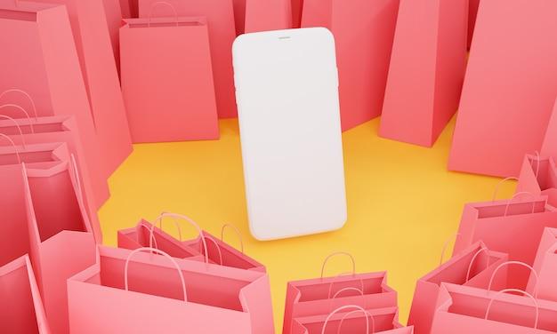 Renderuj 3d, telefon komórkowy z wieloma różowymi torbami na zakupy, koncepcja sprzedaży e-commerce