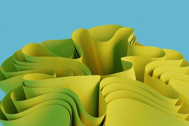 Renderuj 3d żółtą abstrakcyjną falistą figurę na niebieskim tle tapeta z obiektami 3d