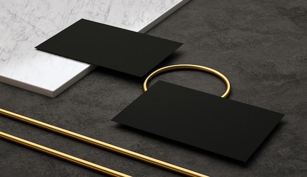 Renderuj prezentację dwóch eleganckich czarnych wizytówek