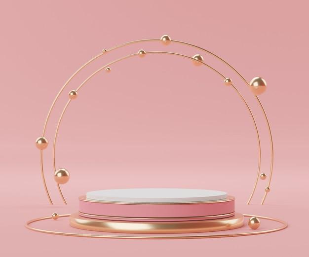 Renderuj scenę geometrycznych minimalnych kształtów i podium