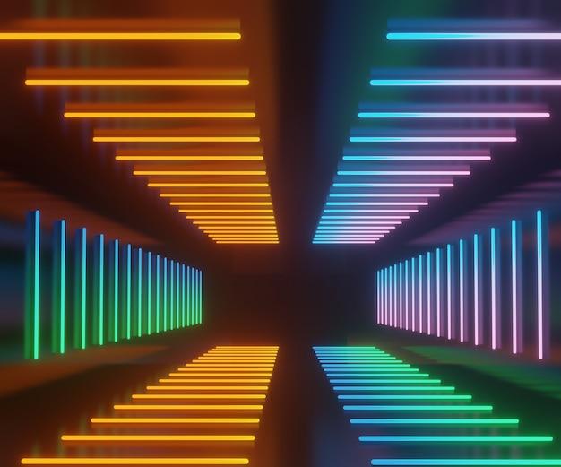 Renderuj scenę tła laserowego światła neonowego