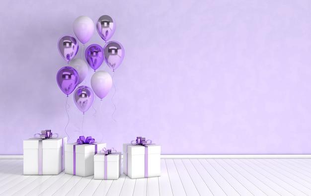 Renderuj wnętrze z balonami foliowymi i pudełkiem prezentowym