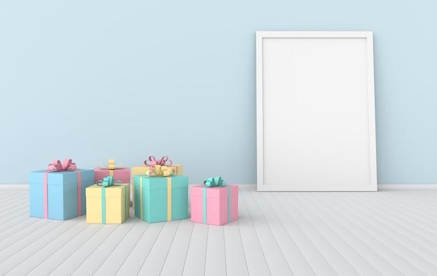 Renderuj wnętrze z realistycznymi kolorowymi pudełkami na prezent ramkę plakatową w pokoju
