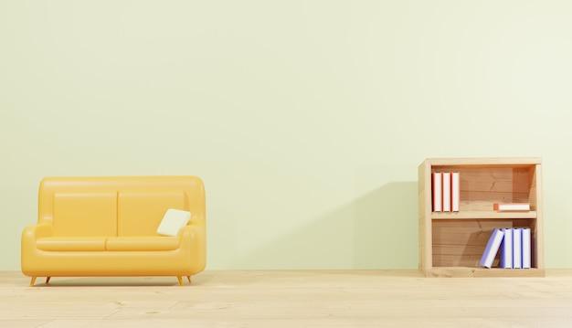 Rendery 3d tła sofa pokój i półka na lekcje na strony internetowe motyw szkolny
