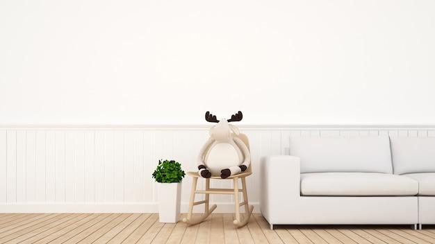 Renifer na kołysa krześle w kidroom lub żywym pokoju - 3d rendering