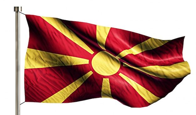 Republika macedonii flaga narodowa pojedyncze 3d białe tło