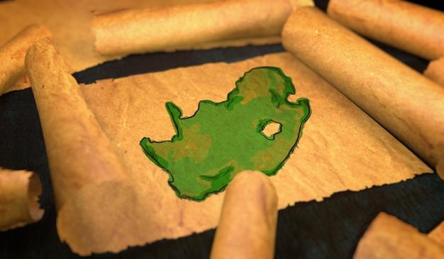 Republika południowej afryki malarstwo mapa rozwijać starego przewijania papieru 3d