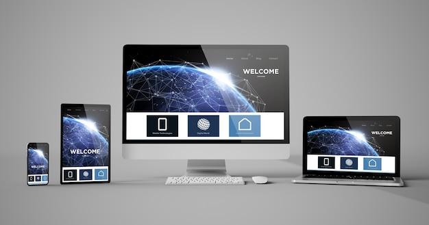 Responsywne urządzenia homepager na białym tle makieta renderowania 3d