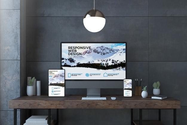 Responsywne urządzenia na eleganckim pulpicie z renderowaniem 3d strony internetowej