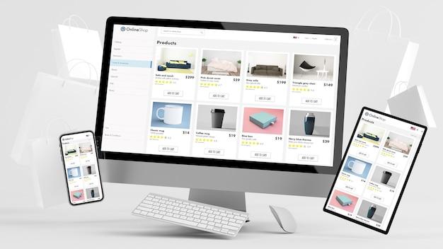 Responsywne urządzenia pływające z renderowaniem 3d torby na zakupy