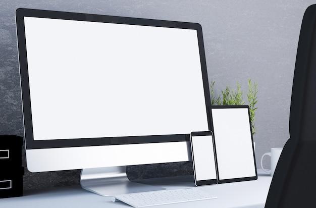 Responsywne urządzenia z białym ekranem