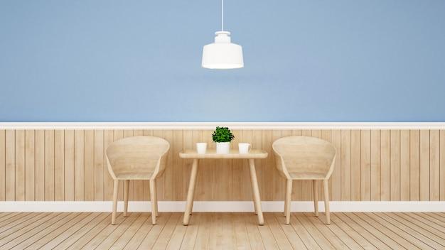 Restauracja lub kawiarnia na niebieską ścianą