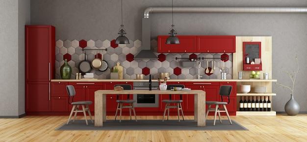 Retro czerwona kuchnia