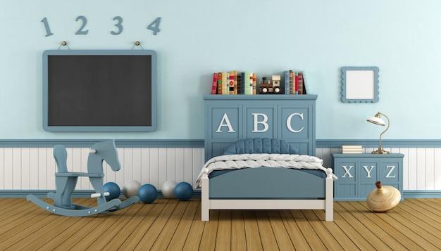 Retro dziecko sypialnia z łóżkiem i blackboard