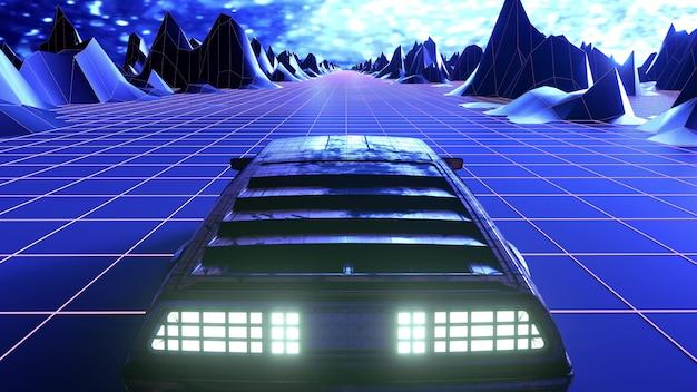 Retro-futurystyczne tło samochodu sci-fi w stylu lat 80. renderowanie 3d