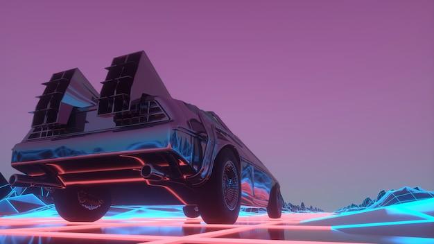 Retro futurystyczny samochód w stylu lat 80. porusza się po wirtualnym neonowym krajobrazie. 3d ilustracji
