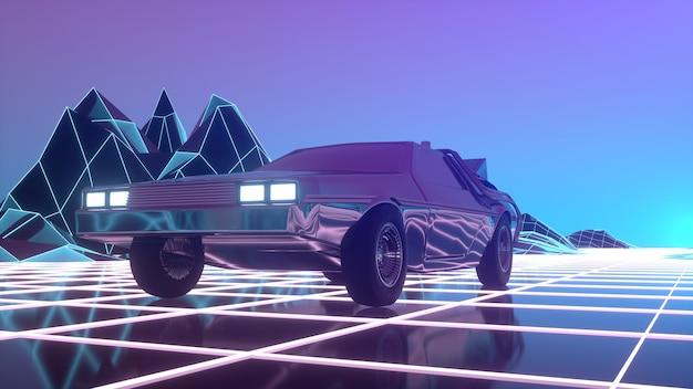Retro futurystyczny samochód w stylu lat 80-tych porusza się po wirtualnym neonowym krajobrazie. ilustracja 3d.