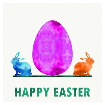 Retro ilustracja jajko wielkanocne i króliki na tło wakacje. karta w stylu kreatywnym i vintage