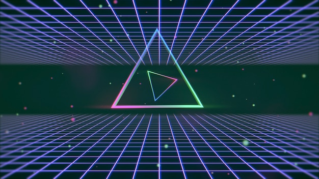 Retro kolorowy trójkąt i linie w przestrzeni, streszczenie tło. elegancka i luksusowa ilustracja 3d w stylu lat 80. i 90.
