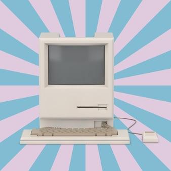 Retro komputer osobisty na tle vintage kształt gwiazdy różowy i niebieski. renderowanie 3d