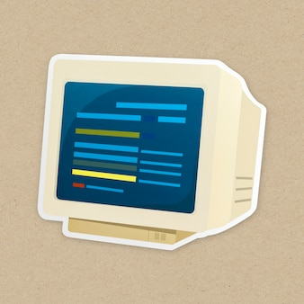 Retro komputerowa ikona odizolowywająca