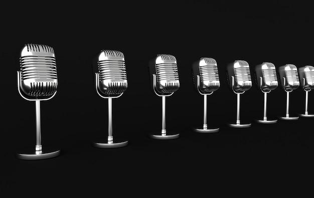 Retro koncert lub mikrofon radiowy realistyczne renderowanie 3d. chromowany metaliczny mikrofon na czarnym tle