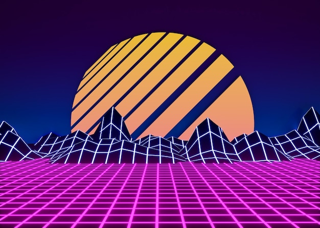 Retro kształty 3d w stylu vaporwave