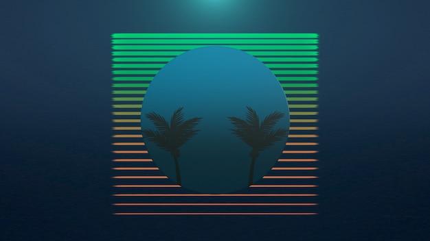Retro lato streszczenie tło, palmy w ramce. elegancka i luksusowa ilustracja 3d w stylu lat 80. i 90.