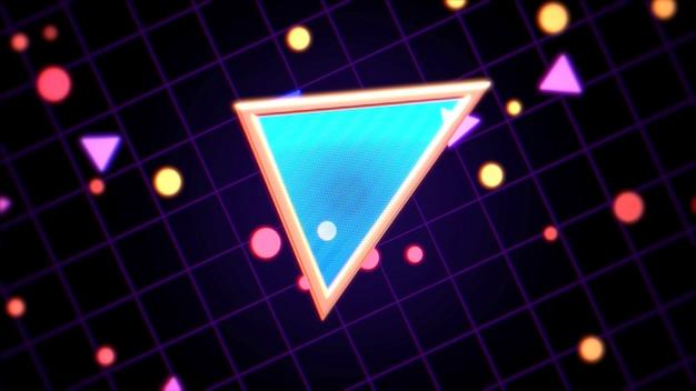 Retro niebieski trójkąt streszczenie tło z szumami i zniekształceniami. elegancka i luksusowa ilustracja 3d w stylu lat 80. i 90.