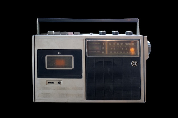 Retro przestarzały przenośny radiomagnetofon kasetowy stereo boombox z lat 80