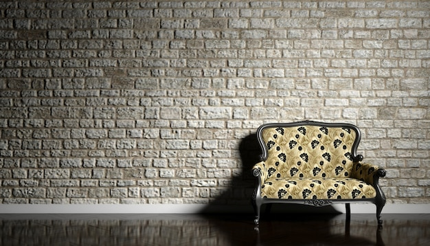 Retro sofa na tle starego ceglanego muru, ilustracji 3d