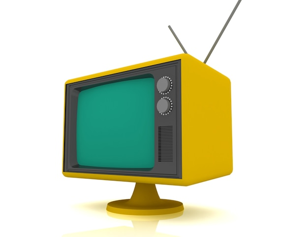 Retro starodawny telewizor na białym tle.