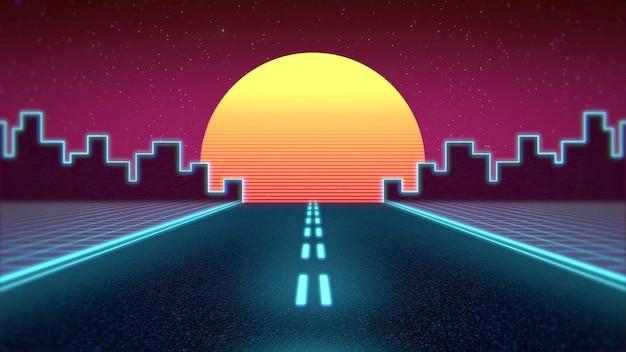 Retro streszczenie tło, czerwona droga i miasto. elegancka i luksusowa ilustracja 3d w stylu lat 80. i 90.