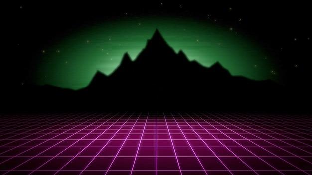 Retro streszczenie tło, czerwona siatka i góry. elegancka i luksusowa ilustracja 3d w stylu lat 80. i 90.