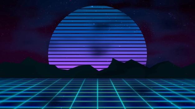 Retro streszczenie tło, niebieska siatka i góry. elegancka i luksusowa ilustracja 3d w stylu lat 80. i 90.