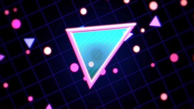 Retro trójkąt streszczenie tło z szumami i zniekształceniami. elegancka i luksusowa ilustracja 3d w stylu lat 80. i 90.