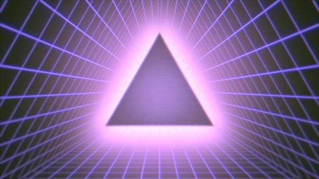 Retro trójkąt w przestrzeni, streszczenie tło. elegancka i luksusowa ilustracja 3d w stylu lat 80. i 90.