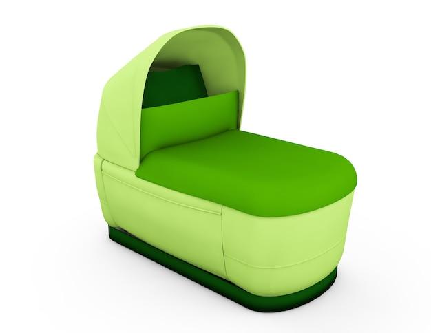 Retro wózek dziecięcy na białym tle. dla chłopca. renderowania 3d.