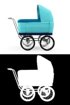 Retro wózek dziecięcy na białym tle. dla chłopca. renderowanie 3d.z kanałem alfa
