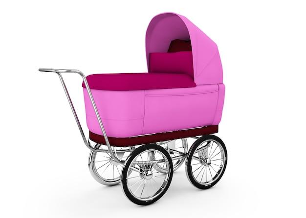 Retro wózek dziecięcy na białym tle. dla dziewczyny. renderowania 3d.
